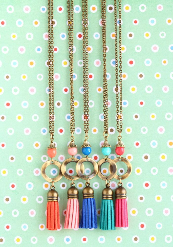 Colorful brass tassel necklaces