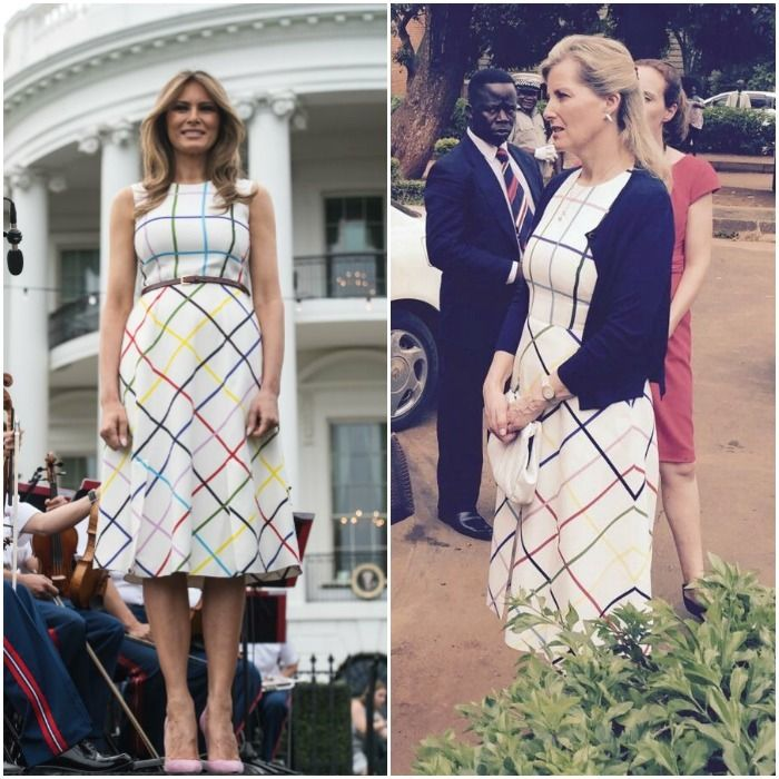 Melania Trump followed Michelle Obama's footsteps with twinning with  royalty. The first lady wore the