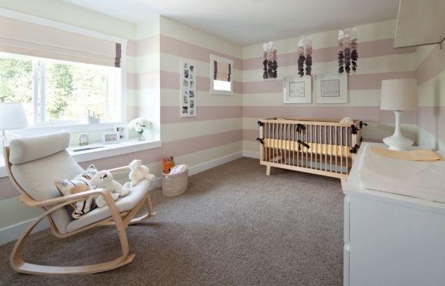 streifen babyzimmer wände pasteltöne rosa creme