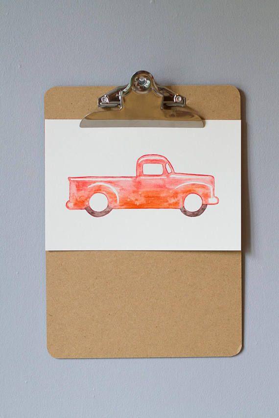 Camion illustration aquarelle enfant garçon déco chambre