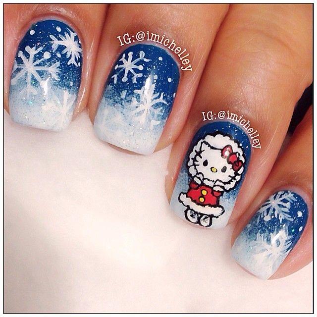 HELLO KITTY snowflakes by imichelley #nail #nails #nailart