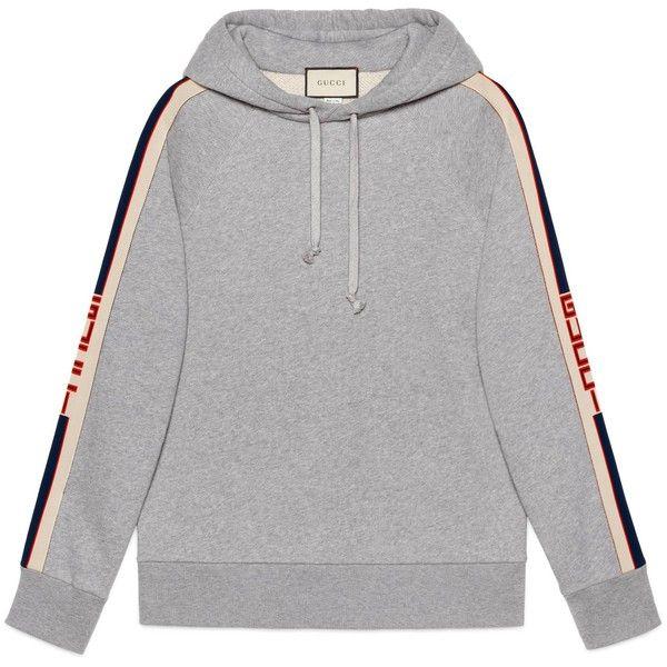 e0b4dbda Gucci Hooded Sweatshirt With Gucci Stripe ($1,225) ❤ liked on ...