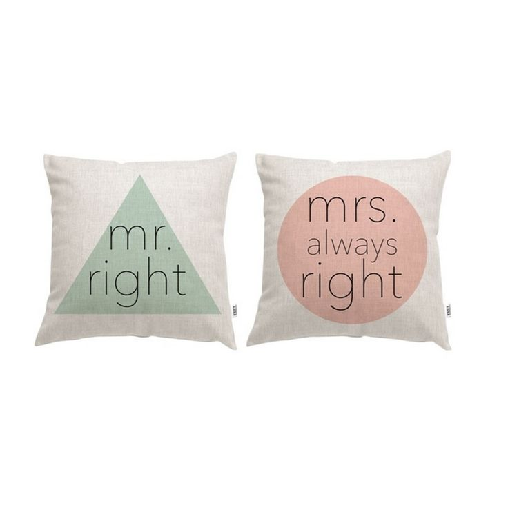 Fest Amsterdam kussen - mr.right & mrs. always right - Valentijnsdag cadeaus