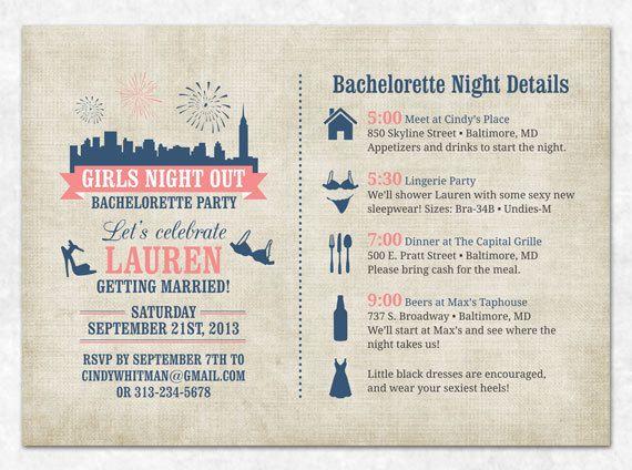 Bachelorette Invitation  Printable  by SweetDStationery on Etsy, $20.00