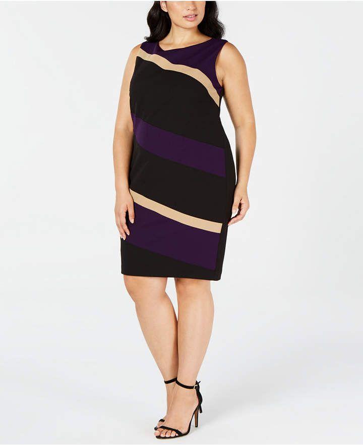 Plus Size Diagonal Colorblocked Dress