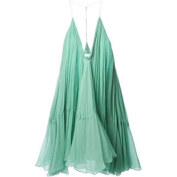 Chloé flared dress ($2,785) ❤ liked on Polyvore featuring dresses, vestidos, short dresses, tops, green, mini dress, short flare dress, silk dress and green mini dress