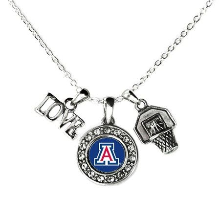 University of Arizona Wildcats Love Basketball Necklace - a sterling silver necklace