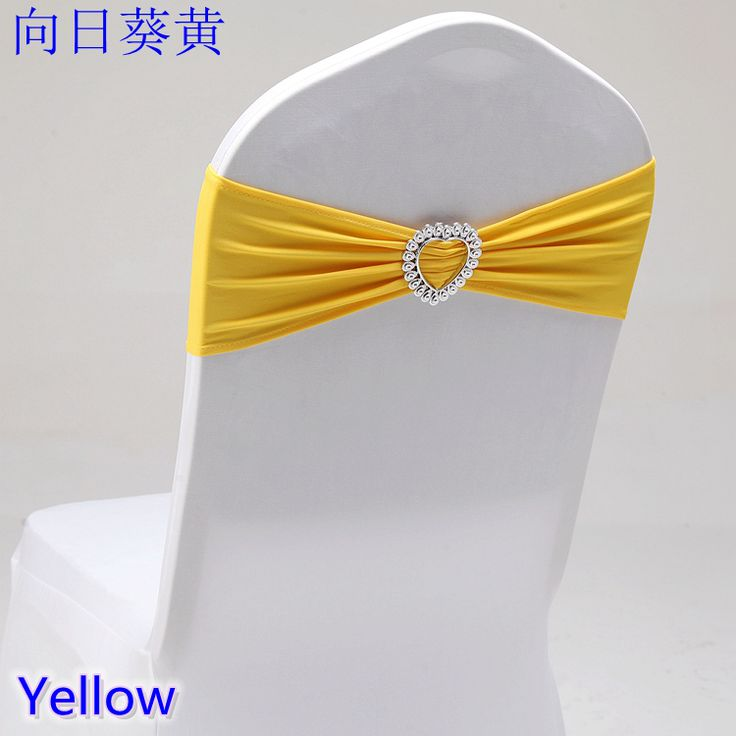 Hot Sale Yellow colour Spandex Bands lycra sash for Chair Covers Sash With Heart Shape Buckle Wedding decoration for sale