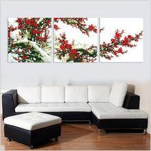 kırmızı erik çiçeği numaralarına göre boyama duvar resimleri oturma odası için eski ev dekor duvar sanatı triptik tuval yağlıboya h505(China (Mainland))
