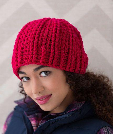 Free Crochet Pattern Aran Hat : Ridged Crochet Hat Free Pattern from Red Heart Yarns New ...
