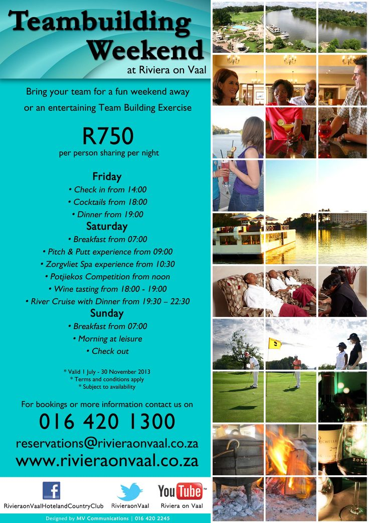 Team Building Weekend special at www.rivieraonvaal.co.za