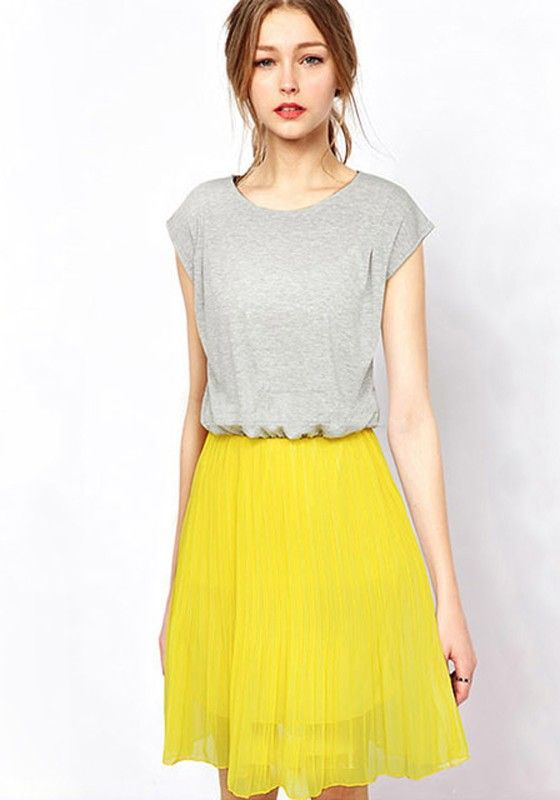 Grey Patchwork Pleated Short Sleeve Chiffon Dress