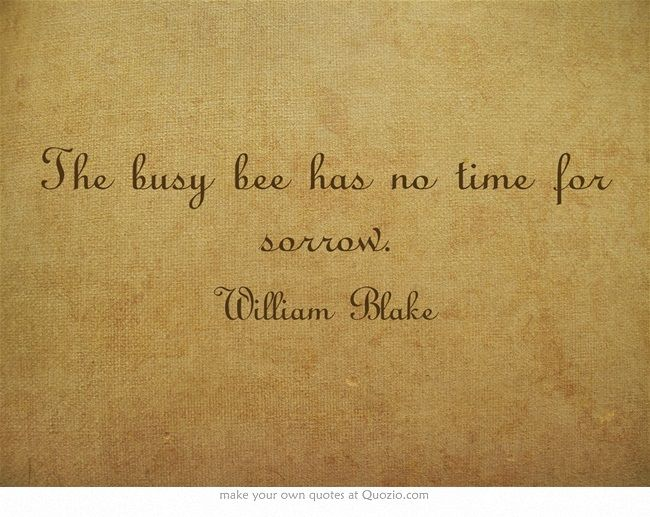 The busy bee has no time for sorrow.