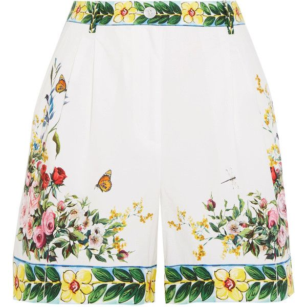 Dolce & Gabbana Printed cotton-poplin Bermuda shorts (2.720 RON) ❤ liked on Polyvore featuring shorts, pants, tailored shorts, flower shorts, multi colored shorts, dolce gabbana shorts and colorful shorts