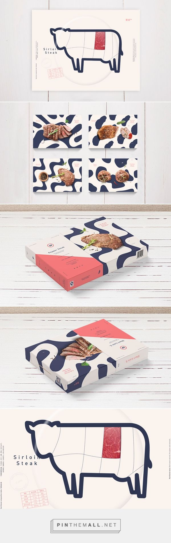 Steak #packaging design. Love the modern colors and pattern.