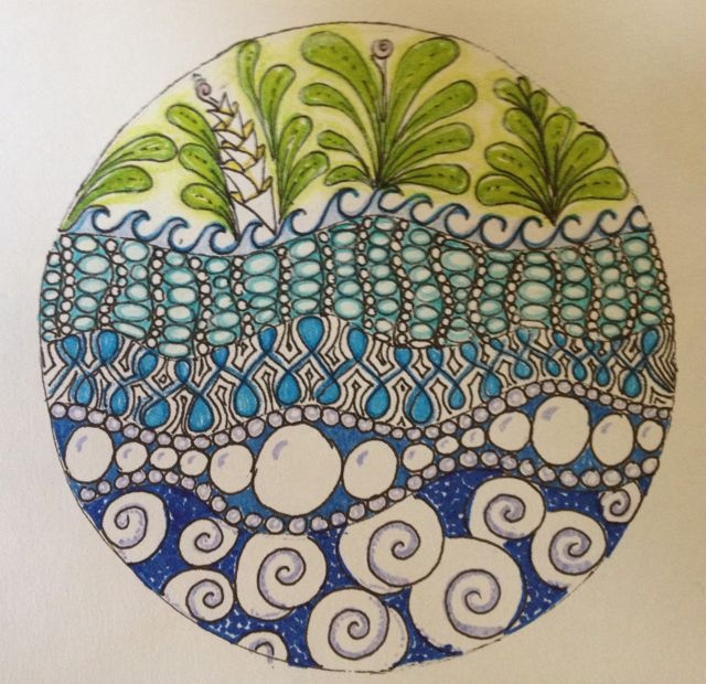 WANT TO MIMIC THE BOTTOM HALF OF THIS IN MY OCEAN TANGLE! Tangled Up In Art