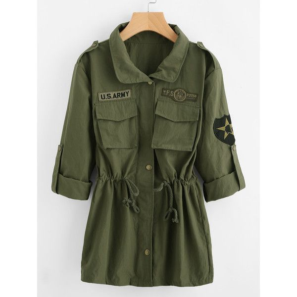 Drawstring Waist Patch Sleeve Utility Jacket ❤ liked on Polyvore featuring outerwear, jackets, sleeve jacket, green jacket, utility jacket, patch jacket and green utility jacket
