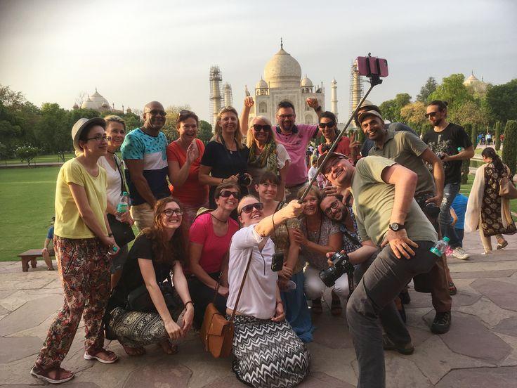 Group shot in front of the Taj Mahal, India.  www.finisterra.ca #tajmahal #incredibleindia