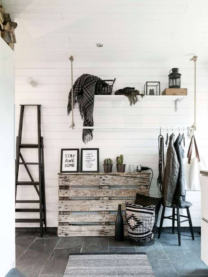 Pallet as radiator cover. And hanging closet.