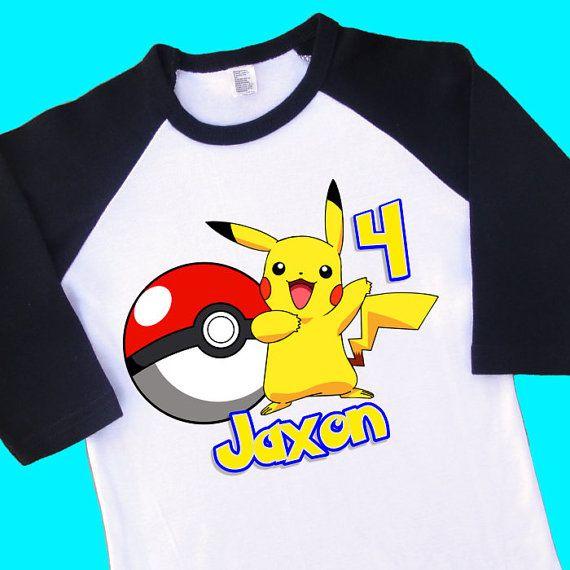 Pikachu Birthday Raglan Shirt. Pokemon by ToonsInMyCloset on Etsy