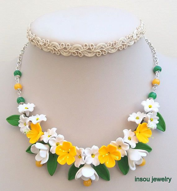 Flower Garden necklace and earrings Yellow green jewelry