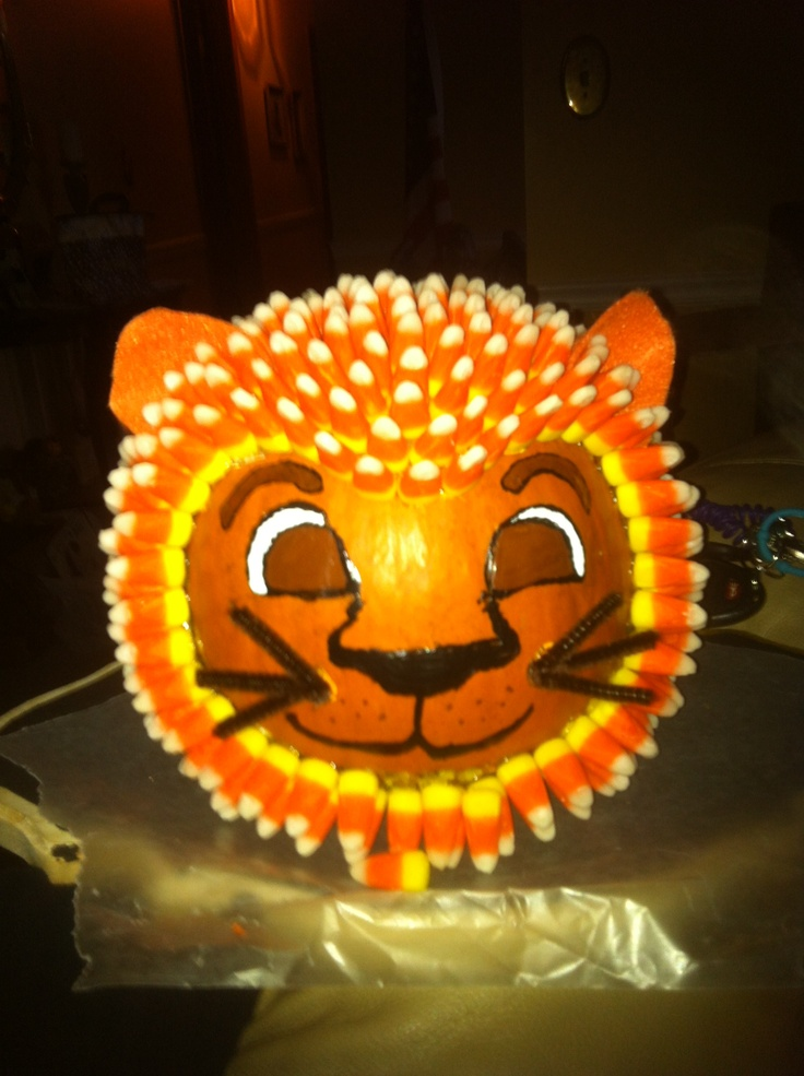 Lion Pumpkin Made Out Of Candy Corn And My Handi Dandy Hot