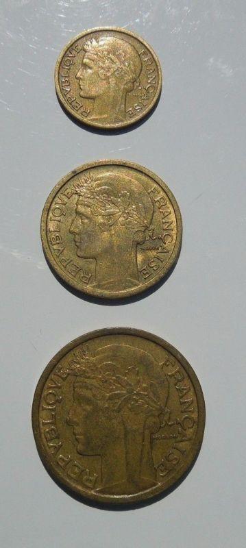 Coin: France 1940 1 Franc 2 Franc 50 Centimes Coin Lot Wwii Liberte Egalite Fraternite