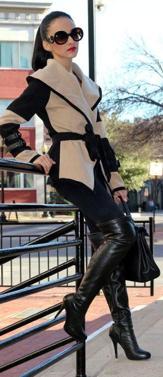 Coffe  Black Collar Shawl: Sheinside Boots : Forever 21 Bag: Aldo