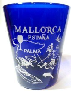 """Here's a very rare and hard to find souvenir collectible shot glass from Mallorca Spain. It's a 5x6cm style shot glass measuring 2.5"""" tall and 2"""" in diameter."""