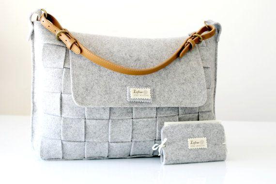 Messenger Tasche / Filztasche / graue Filztasche / Weben von Lefrac