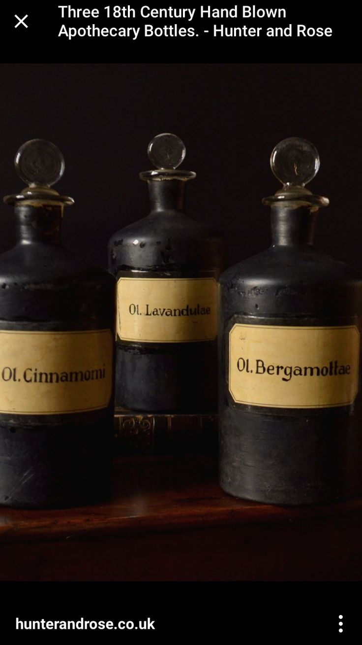 Absolute ethyl alcohol bottle vintage chemical bottle science lab - 3 X 18th Century Apothecary Hand Blown Bottles
