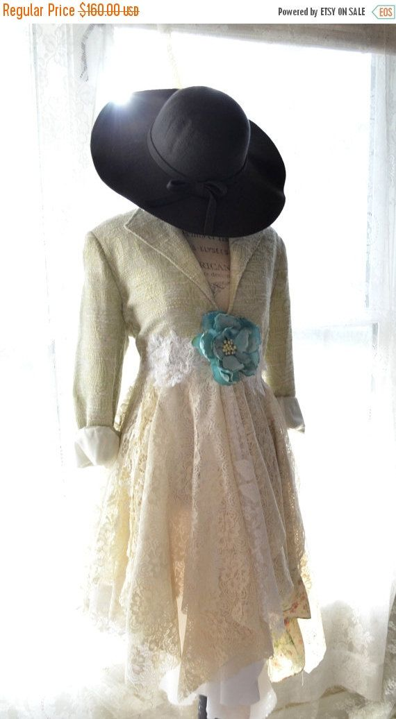 Romantic lace duster dress, Boho jacket, Bohemian clothing, Stevie Nicks gypsy style coat, Shabby cottage chic True rebel clothing