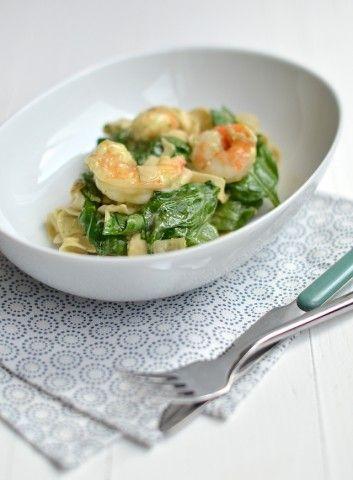 Lekker en makkelijk recept voor pasta met garnalen en spinazie a la Vapiano.