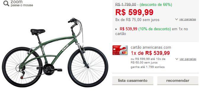 Bicicleta Caloi 500 M aro 26 21 marchas Verde >