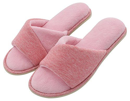 HomeIdeas Women's Open Toe Terrycloth Slide House Slippers with Comfy Velvet Lining, Spring Summer Memory Foam Indoor Shoes  The special-designed mixing colors vamp makes the slippers elegant but not monotonous. Easily foldable and portable due to its extremely light weight. Slip-on style with an open-toe design helps your tired feet breath. Just spread your tootsies out naturally!  Made of sweat-absorbent velvet, so these women slippers can pamper your tried feet in softness and preve...