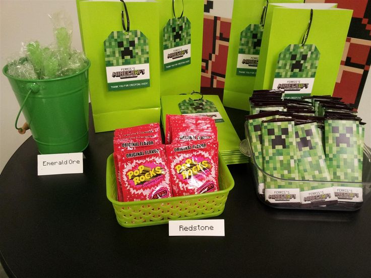 Minecraft Birthday Party Decoartions - Goodie bags and accessories that go along with a good Minecraft themed birthday party.  Red stone Pop Rocks are always a good choice!