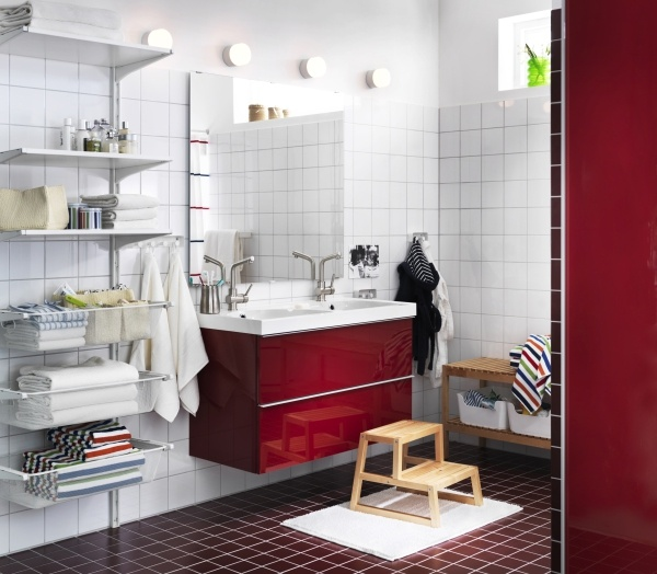 Make a splash with bold reds in the bathroom with our high - Meubles salles de bain ikea ...