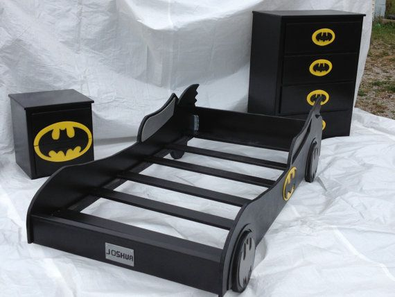 @Erika Obermeyer --check this out! 3 piece Full size Batmobile Bed Set by ShortysCreations01 on Etsy, $1175.00
