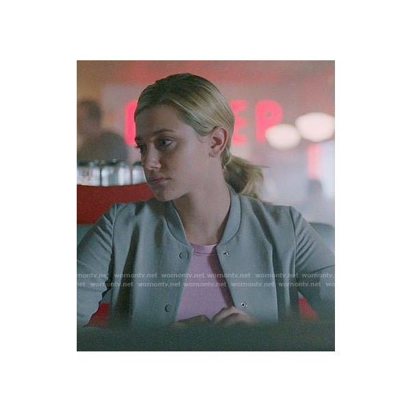 Betty's grey bomber jacket on Riverdale ❤ liked on Polyvore featuring outerwear, jackets, bomber style jacket, grey bomber jacket, gray jacket, blouson jacket and grey jacket