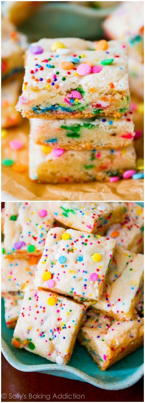 Cake Batter Blondies   18 Cake Batter Recipes to Try on Your Unbirthday   http://www.hercampus.com/health/food/18-cake-batter-recipes-try-your-unbirthday