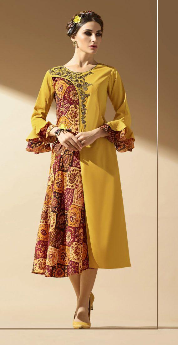 Click On Bazaar Mustard Colored Faux Georgette Kurti.