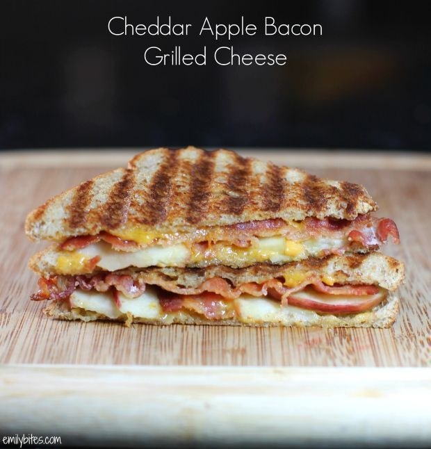 This Cheddar Apple Bacon Grilled Cheese combines sharp, salty, sweet and smoky flavors into comfort food you'll love. Just over 300 calories or 8 Weight Watchers points! www.emilybites.com