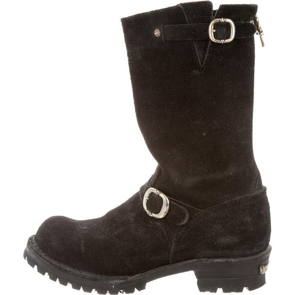 Pre-owned Chrome Hearts Suede Riding Boots ($3,495) ❤ liked on Polyvore featuring men's fashion, men's shoes, men's boots, black, mens riding boots, mens black riding boots, mens zip boots, mens equestrian boots and mens zip shoes