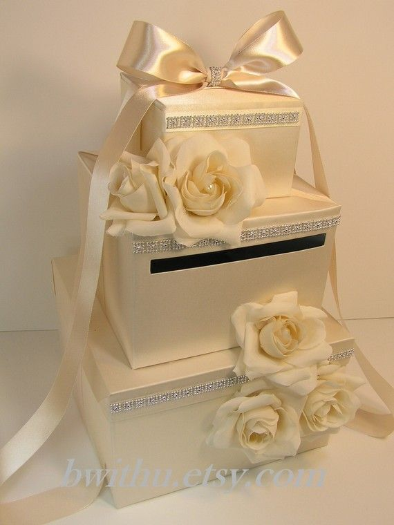 Ivory Wedding  Card Box Gift Card Box Money Box by bwithustudio, $125.00