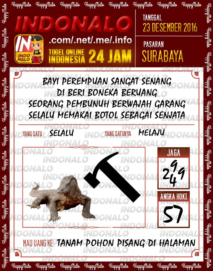 Angka Main 6D Togel Wap Online Live Draw 4D Indonalo Surabaya 23 Desember 2016