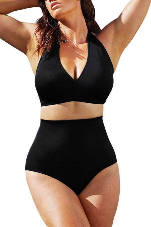 Solid Black Plus Size Halter Bikini Swimsuit