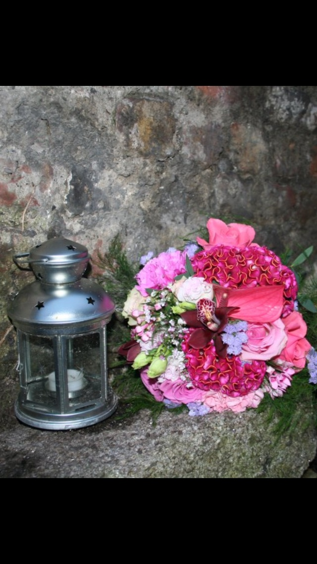 Vintage style mixed pink bridal bouquet