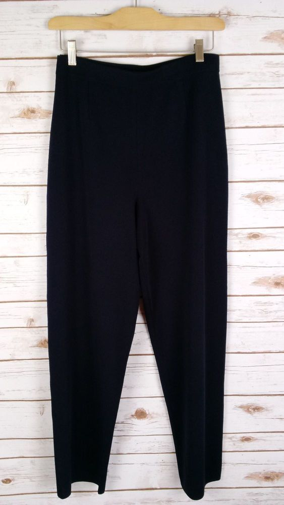 Exclusively Misook Navy Blue Pull-on Pants Size M Elastic Waist Career Casual #ExclusivelyMisook #CasualPants