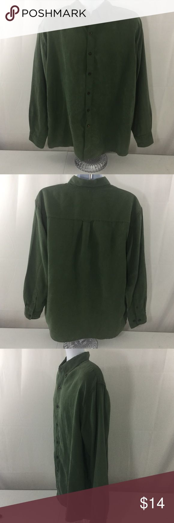 """Rugged Earth Faux Suede Button Down Shirt Green Excellent used condition, no noted flaws. Men's size large. Color green. Faux suede fabric, very soft and comfy. Button down. Long sleeves. 100% poly. Machine wash. Approx. laying flat measurements: armpit to armpit 25.5"""", sleeves 25"""", length 32.5"""". Rugged Earth Outfitters Shirts Casual Button Down Shirts"""
