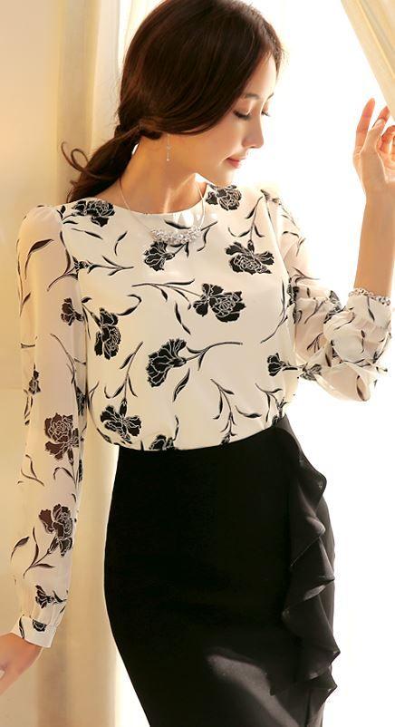 StyleOnme_Chiffon Sleeve Floral Blouse #blouse #chiffon #floral #feminine